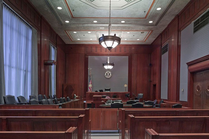 View of a full empty courtroom with jury